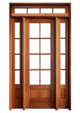 Mahogany Alexandria TDL 8LT 8/0 Single Door with 2 Sidelights and Rectangular Transom