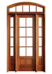 Mahogany Alexandria TDL 8LT 8/0 Single Door with 2 Sidelights and Segment Arch Transom