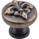 "Antique Brushed Satin Brass 1-3/8"" Lafayette Raised Fleur-de-lis Decorative Cabinet Knob (218ABSB)"
