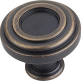 "Antique Brushed Satin Brass 1-3/8"" Lafayette Plain Decorative Cabinet Knob (317ABSB)"