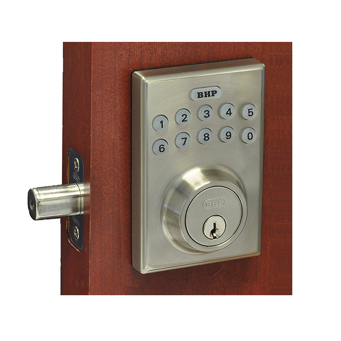 Better Home Products Electronic Keypad Deadbolt. Square Design. Satin  Nickel Finish. EL20615SN.