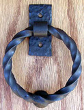 Twisted Ring Knocker/Pull- Flat Black by Agave Ironworks