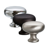 Decorative and functional, this round cabinet knob from Better Home Products is available in a dark bronze, chrome or satin nickel finish.