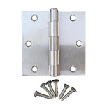 "Satin Nickel 3.5"" X 3.5"" X Square Corner Interior Door Hinge"