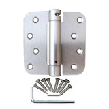 "Satin Nickel 4"" X 4"" X 5/8"" Corner Self-Closing Adjustable Spring Hinge"