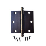 "Oil Rubbed Bronze 3.5"" X 3.5"" X Square Corner Door Hinge with Ball Tip"