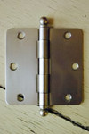 "Satin Nickel 3.5"" X 3.5"" X 1/4"" Corner Door Hinge with Ball Tip"
