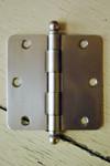 """Satin Nickel 3.5"""" X 3.5"""" X 1/4"""" Corner Door Hinge with Ball Tip"""