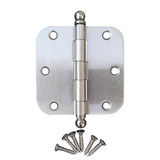 "Satin Nickel 3.5"" X 3.5"" X 5/8"" Corner Door Hinge with Ball Tip"