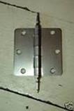 """Satin Nickel 3.5"""" X 3.5"""" X 1/4"""" Corner Door Hinge with Steeple Tip"""