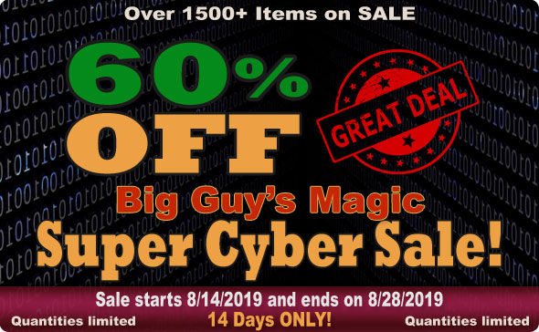 Big Guy's Aug 2019 Super Cyber Sale! 60% Off Select Items