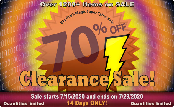 Big Guy's JULY 2020 Clearance Sale! 70% Off Select Items