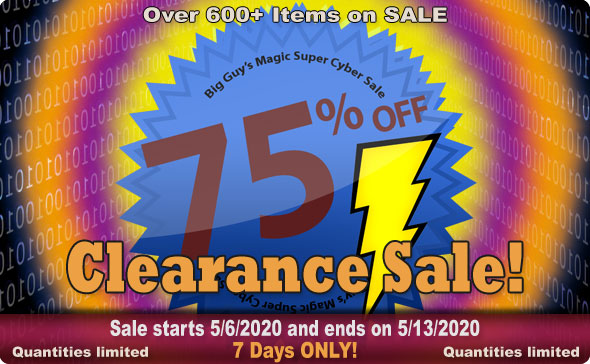 Big Guy's MAY 2020 Clearance Sale! 75% Off Select Items