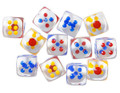1 Inch Transparent 12 DICE (6 Sided Dice With Colored Dots) By Big Guy's Magic