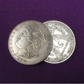 1882 Morgan Dollar shell and 4 coin set by Viking Mfg. Co.