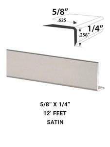 """E3FACE5814SA12 Mirror Edge Face Molding 0.625"""" x 0.258"""" in Satin Finish."""