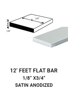 "E3FL1834AN12 FLAT BAR IN ALUMINIUM 1/8"" X 3/4"" IN 12 FEET"