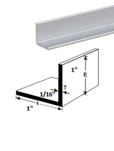 "ES31x1x116BA12 L Angle IN ALUMINIUM 1"" X 1""x 1/16"" IN 12 FEET BRIGHT ANODISED (CHROME)"