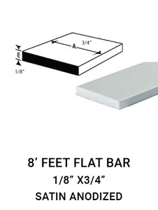 "E3FL1834AN8 FLAT BAR IN ALUMINIUM 1/8"" X 3/4""IN 8 FEET"