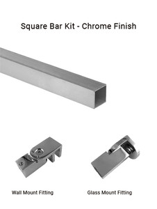 TGSUP10CH Wall to Glass Square Support Bar Kit in Chrome Finish