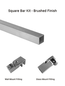 TGSUP10BN Wall to Glass Square Support Bar Kit in Brushed Finish