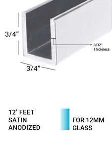 """E3US91634SA12 U Channel for 9/16"""" Glass 3/4"""" x 3/4"""" (3/32"""" thk) Satin Anodised in 12ft Length"""