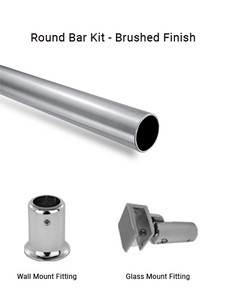 RBWGBN Wall to Glass Bar set in Brushed Finish