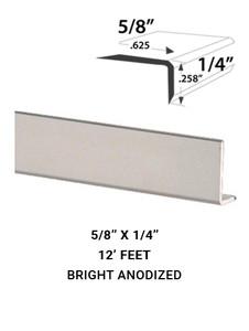 "E3FACE5814BA12 Mirror Edge Face Molding 0.625"" x 0.258"" in Bright Clear Anodized Finish"