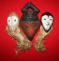 3 African Mask Set BaLuba Lega