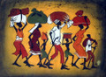 Kenyan Cloth Painting: Walking with Bundles