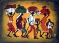 Kenyan Cloth Painting: Walking with Bundles