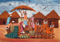 Maasai Cloth Painting: Market Place