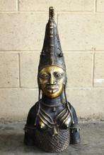 African Bronze Queen Mother Bust