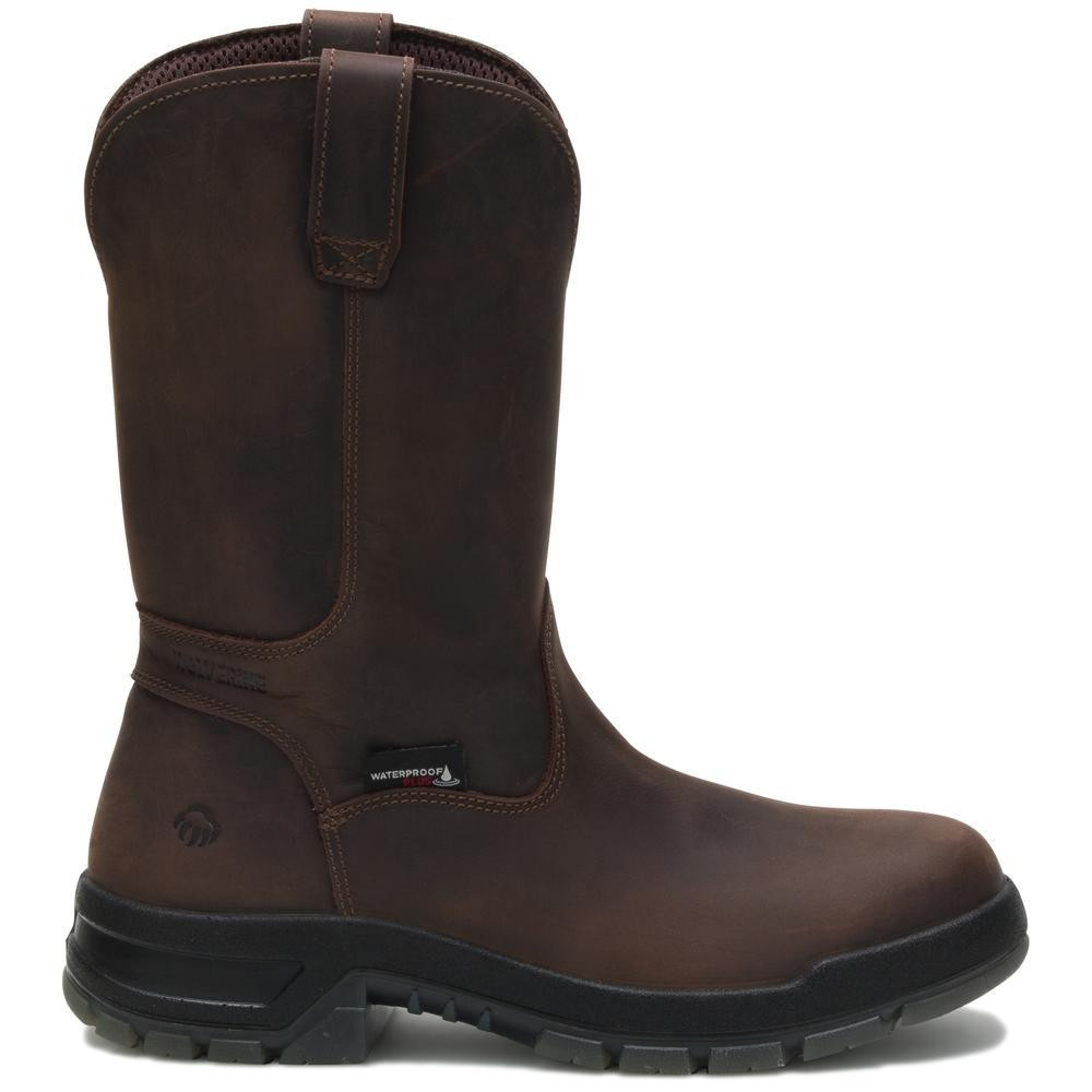 f9a8433bf48 Ramparts 10 Inch Dark Brown Waterproof Composite Toe Wellington Boot 191045