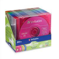 Verbatim CD-RW Branded Colored Discs, 20 per Pack