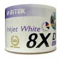 Ritek DVDR White Ink Jet Hub Printable Discs, 50/ Spindle