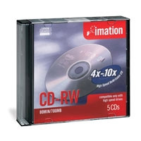 Imation CD-RW 74 Minute Ultra Speed Disc, 5 per Pack