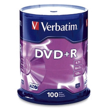 Verbatim DVD+R 16X Branded Surface Discs, 100 per Spindle