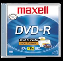 Maxell DVD-R 8X White Inkjet Printable Discs, 50 per Spindle