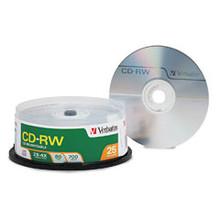 Verbatim CD-R/W 2X-4X 80 Minutes Branded Discs, 25/ Spindle