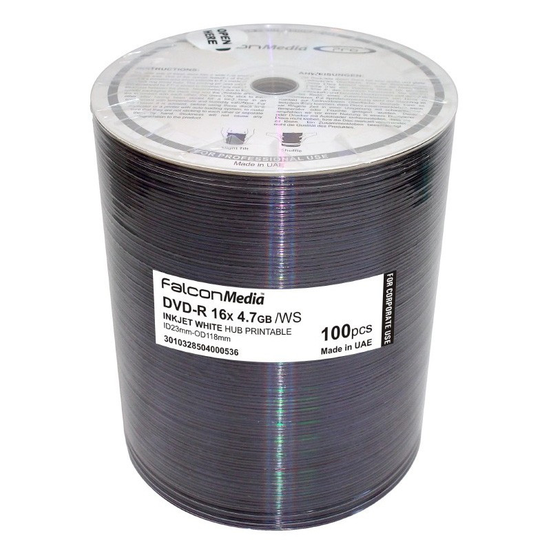 photograph regarding Printable Dvd Discs named Falcon DVD-R White Inkjet 16X Printable Discs, 100 for each Pack