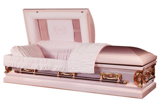 'Mother' Casket Pink Finish with Pink Velvet Interior - Metal Casket