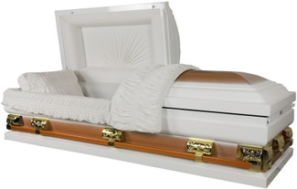 "Majestic White And Gold With White Velvet Interior Oversize Casket 28"" Inside"