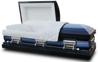 Lincoln Spruce Blue Casket with White Velvet Interior- Metal Casket
