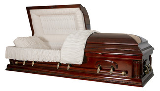 Cherrytone Solid Poplar Casket with Cream Velvet Interior -  Wood Casket