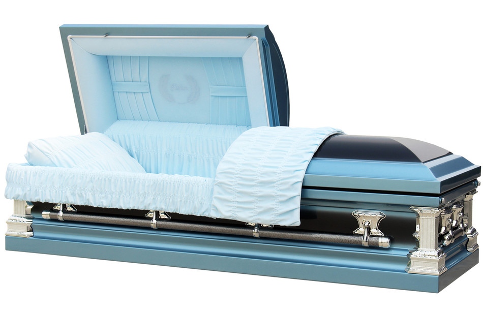 Father light blue and ebony finish with light blue interior overnight caskets for Black casket with red interior