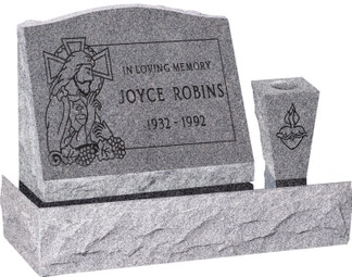 Slant Headstone with Base and Vase - 10 Color Choices - Starting at $1389.00