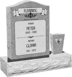 Upright Headstone Monument with Vase - Polished Front and Back - 10 Color Choices - Starting at $1519