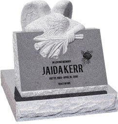 "Carved Angel Slant Headstone with 28"" Base - Polished Front - 10 Color Choices - $3464"