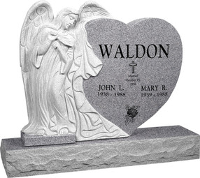 "Leaning Angel Heart Head Stone with 48"" Base - Polished All Sides - 10 Color Choices - $3849"